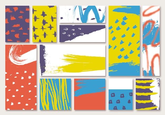 Collection de bannières de coup de pinceau dessinés à la main