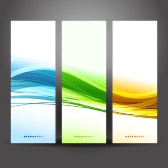 Collection de bannières design vague moderne