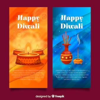 Collection de bannières diwali heureux