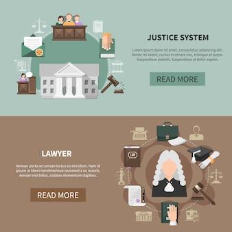 Collection de bannières du système juridique