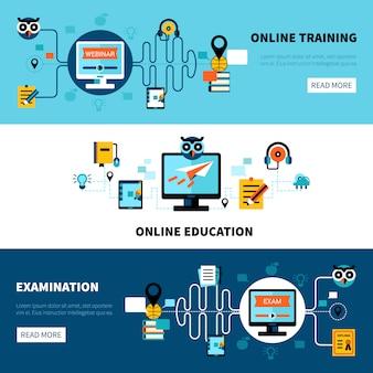 Collection de bannières d'éducation en ligne plat