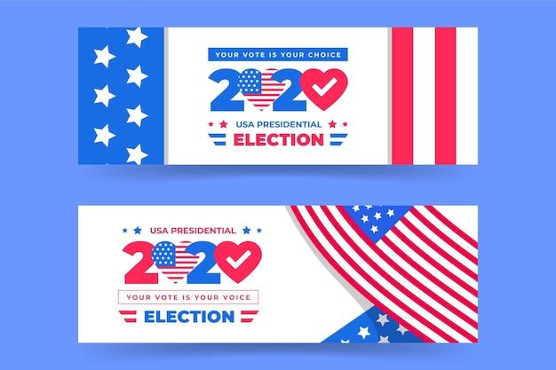 Collection de bannières de l'élection présidentielle 2020 aux états-unis