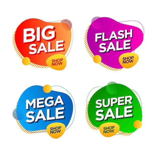 Collection de bannières d'étiquettes de promotion de vente