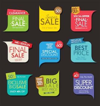 Collection de bannières et étiquettes de vente modernes
