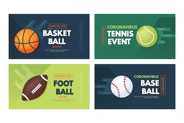 Collection de bannières d'événements sportifs annulées