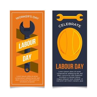 Collection de bannières de fête du travail design plat