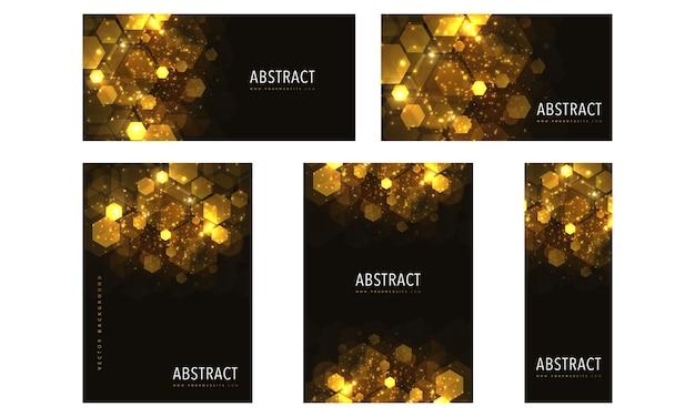 Collection de bannières géométriques brillance abstraite