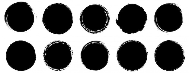 Collection de bannières grunge. grand ensemble de formes rondes grounge. vecteur