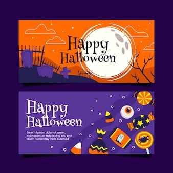 Collection de bannières halloween design plat