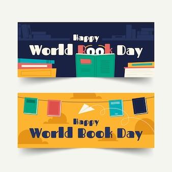 Collection de bannières horizontales de la journée mondiale du livre