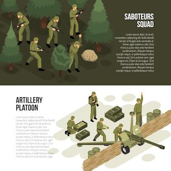 Collection de bannières horizontales militaires