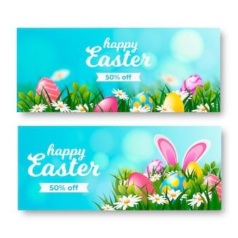 Collection de bannières horizontales réalistes de vente de pâques
