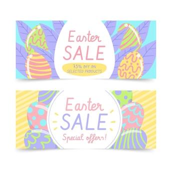 Collection de bannières horizontales de vente de pâques dessinés à la main