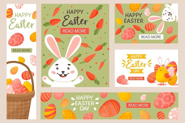 Collection de bannières horizontales, verticales de pâques avec des œufs décorés de couleurs vives, des lapins, des carottes, un panier avec des œufs et des poulets.