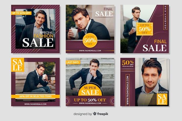 Collection de bannières instagram pour hommes