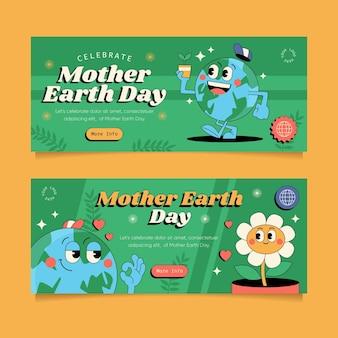 Collection de bannières de jour de la terre mère plate