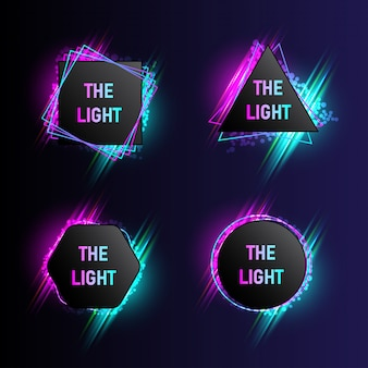 Collection de bannières de lumière moderne avec 4 formes abstraites