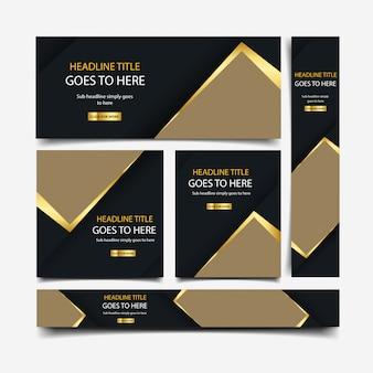 Collection de bannières de luxe doré