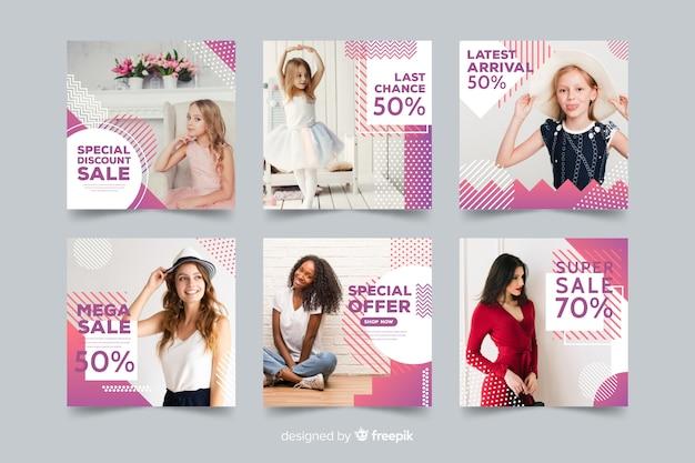 Collection de bannières de mode avec photo