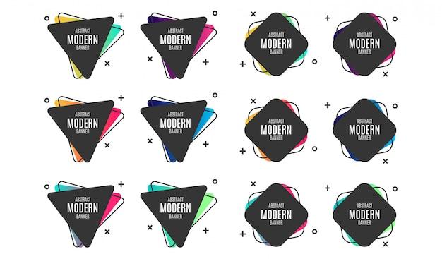 Collection de bannières modernes abstraites colorées