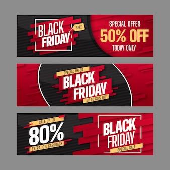 Collection de bannières noires de vendredi