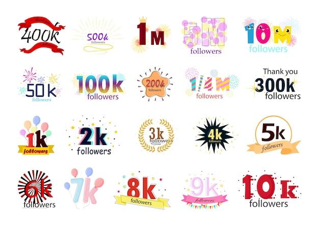 Collection de bannières o félicitations avec une grande qualité d'abonnés