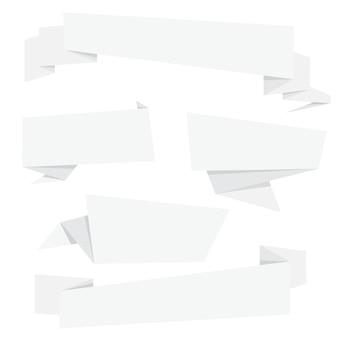 Collection de bannières origami pliantes en papier blanc