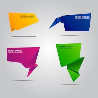 Collection de bannières en papier abstraite