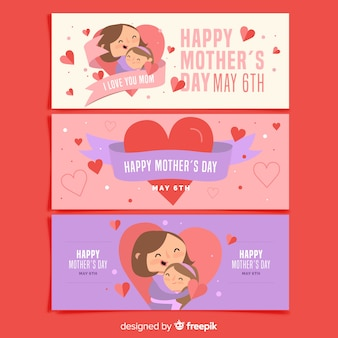 Collection de bannières pour la fête des mères
