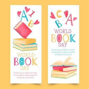 Collection de bannières pour la journée mondiale du livre aquarelle