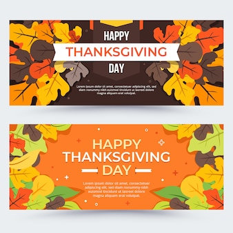 Collection de bannières pour le thanksgiving design plat
