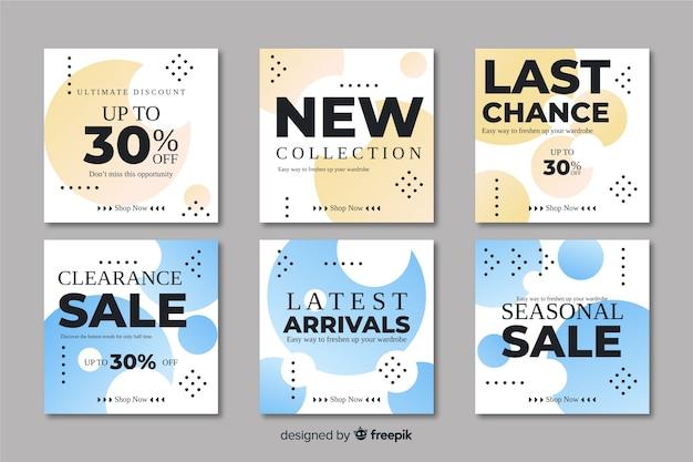 Collection de bannières de promotion de vente abstraite
