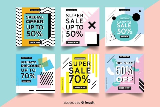 Collection de bannières de promotion des ventes pour les médias sociaux