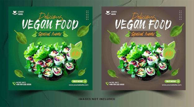 Collection de bannières de publications instagram de nourriture végétarienne plate à l'aquarelle