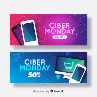 Collection de bannières réalistes ciber lundi