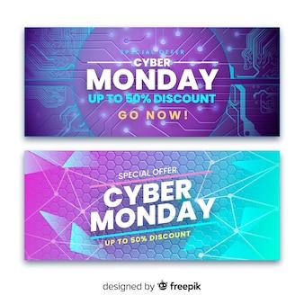 Collection de bannières réalistes de cyber lundi