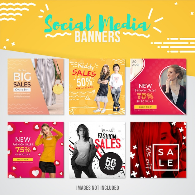 Collection de bannières de réseaux sociaux sur les ventes de mode moderne à utiliser sur les publications instagram pour les offres spéciales