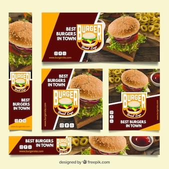 Collection de bannières de restaurant avec photo