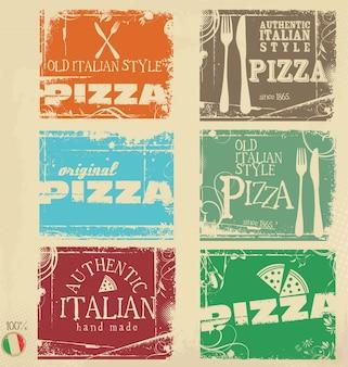 Collection de bannières rétro de pizza grunge