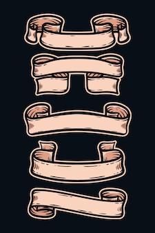 Collection de bannières de rubans vintage gravés dessinés à la main