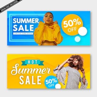 Collection de bannières de soldes d'été