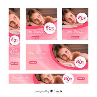 Collection de bannières spa avec photo