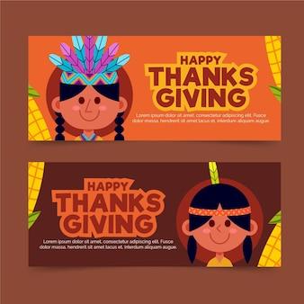 Collection de bannières de thanksgiving design plat
