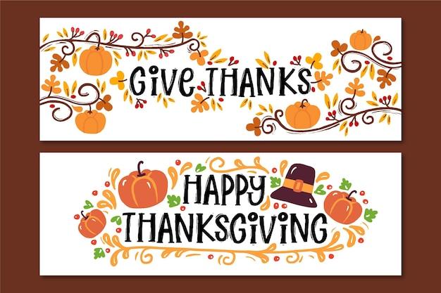 Collection de bannières de thanksgiving dessinées à la main