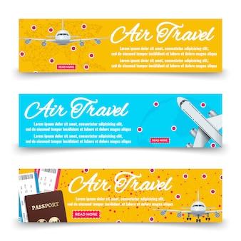 Collection de bannières de transport aérien - modèle de bannières de vacances internationales