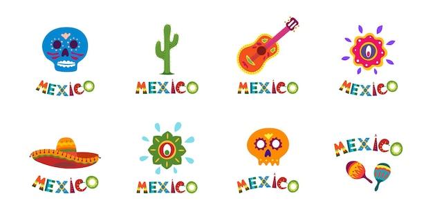 Collection de bannières de typographie du mexique avec décoration de texte colorée, sombrero mexicain festif et