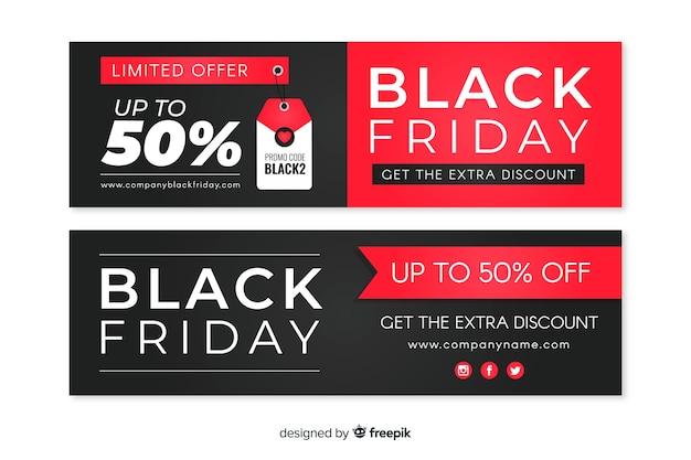 Collection de bannières de vendredi design plat noir