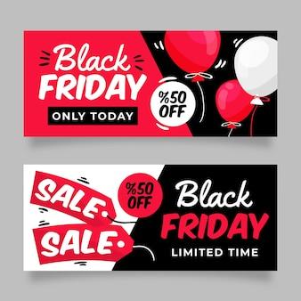 Collection de bannières de vendredi noir dessinés à la main