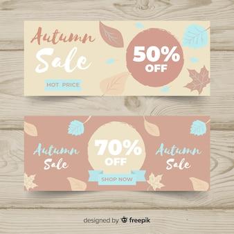 Collection de bannières de vente automne design plat