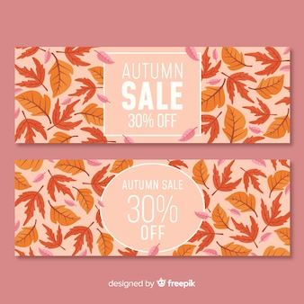 Collection de bannières de vente automne avec des feuilles